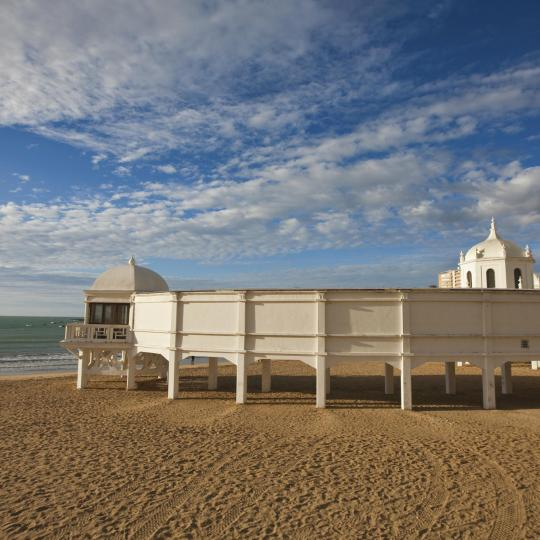 Het strand Caleta in Cadiz
