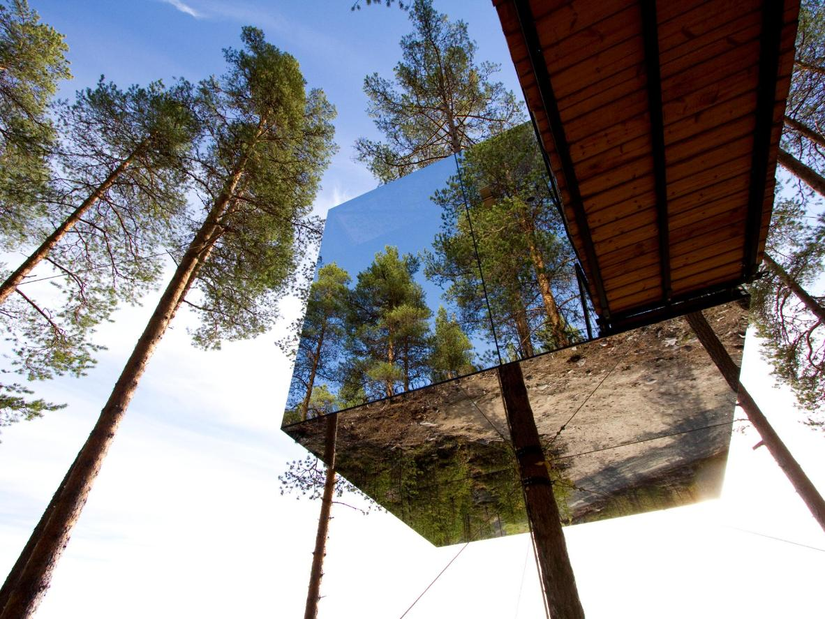 The aptly-named Mirrorcube reflects the forest scenery