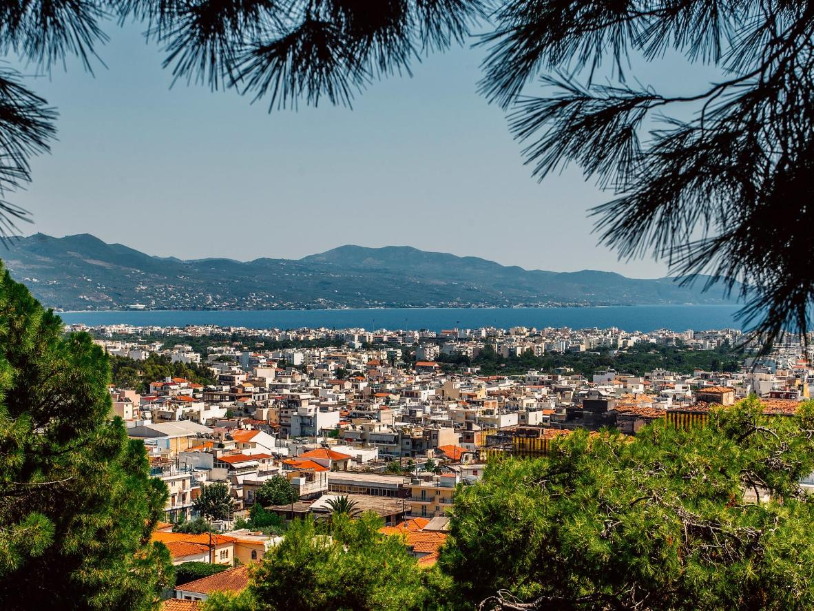 A view of the Greek city Kalamata framed by pine trees