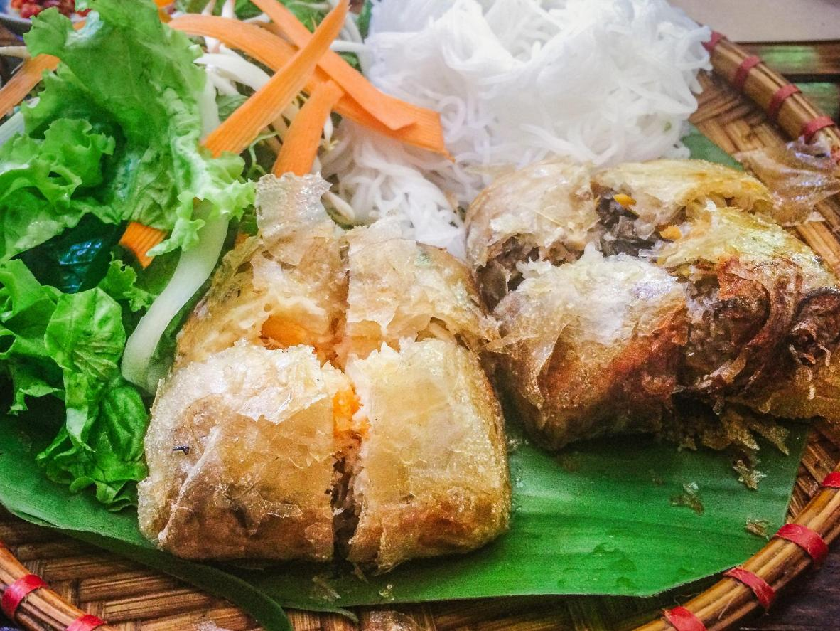 One of Vietnam's many delicacies, 'em cua be', consists of fried spring rolls with crab meat