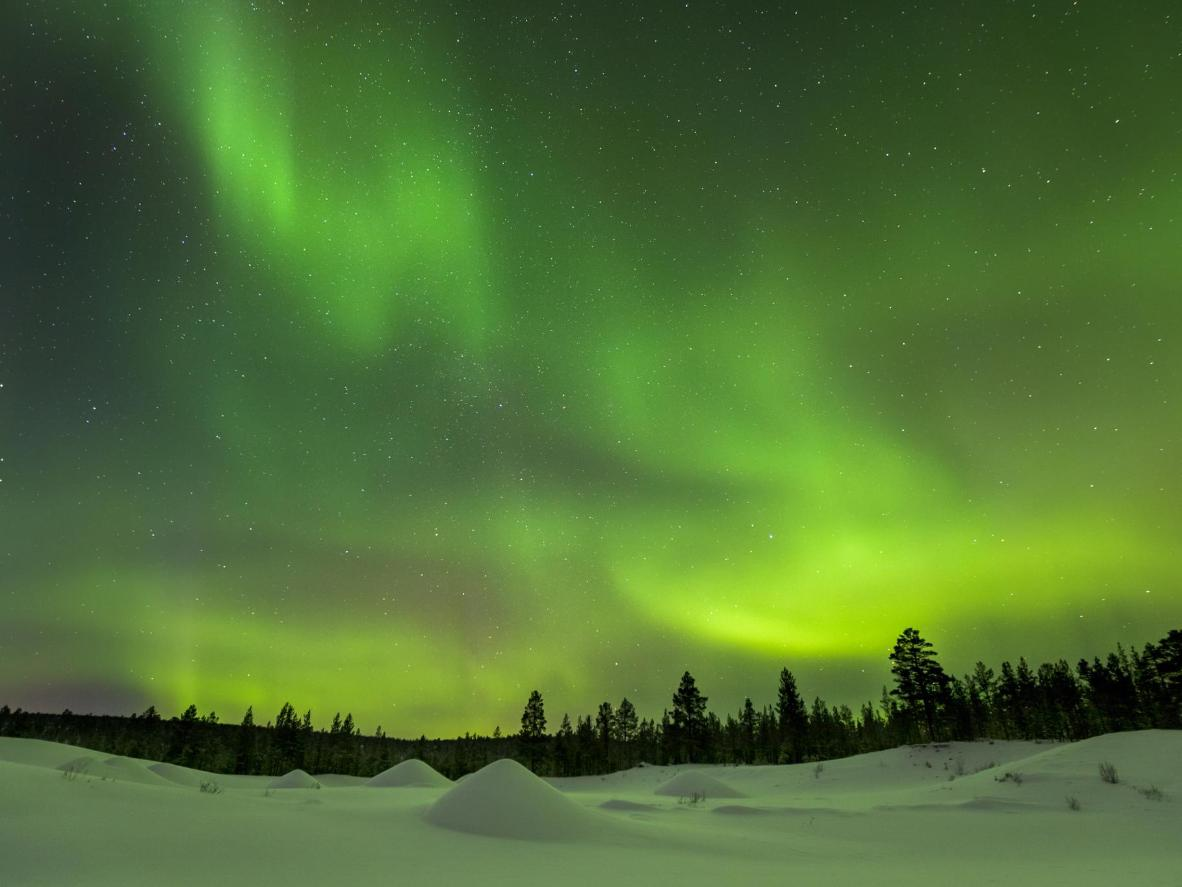 Take a driving tour through the snow in Ivalo