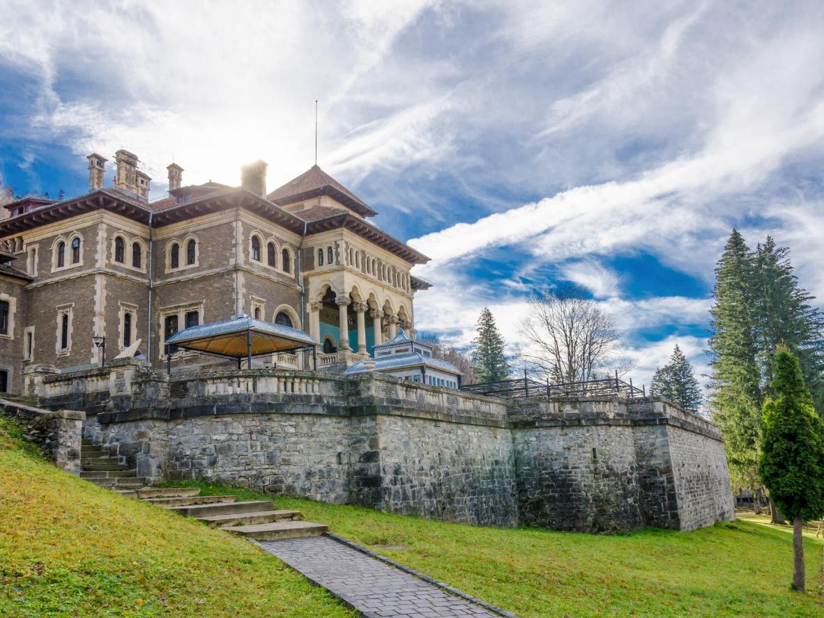 See stucco marble and stained glass at Cantacuzino Castle