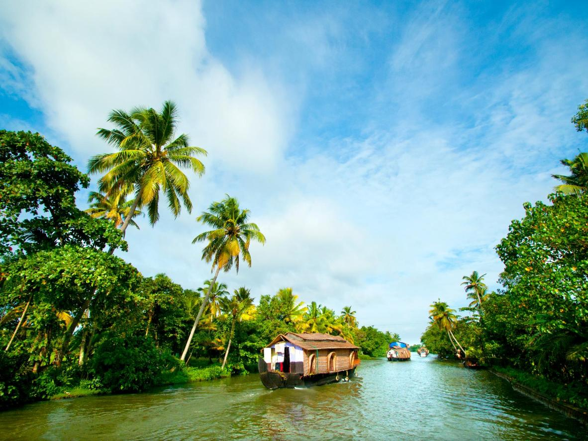 Take a bamboo raft or houseboat cruise through the Keralan backwaters
