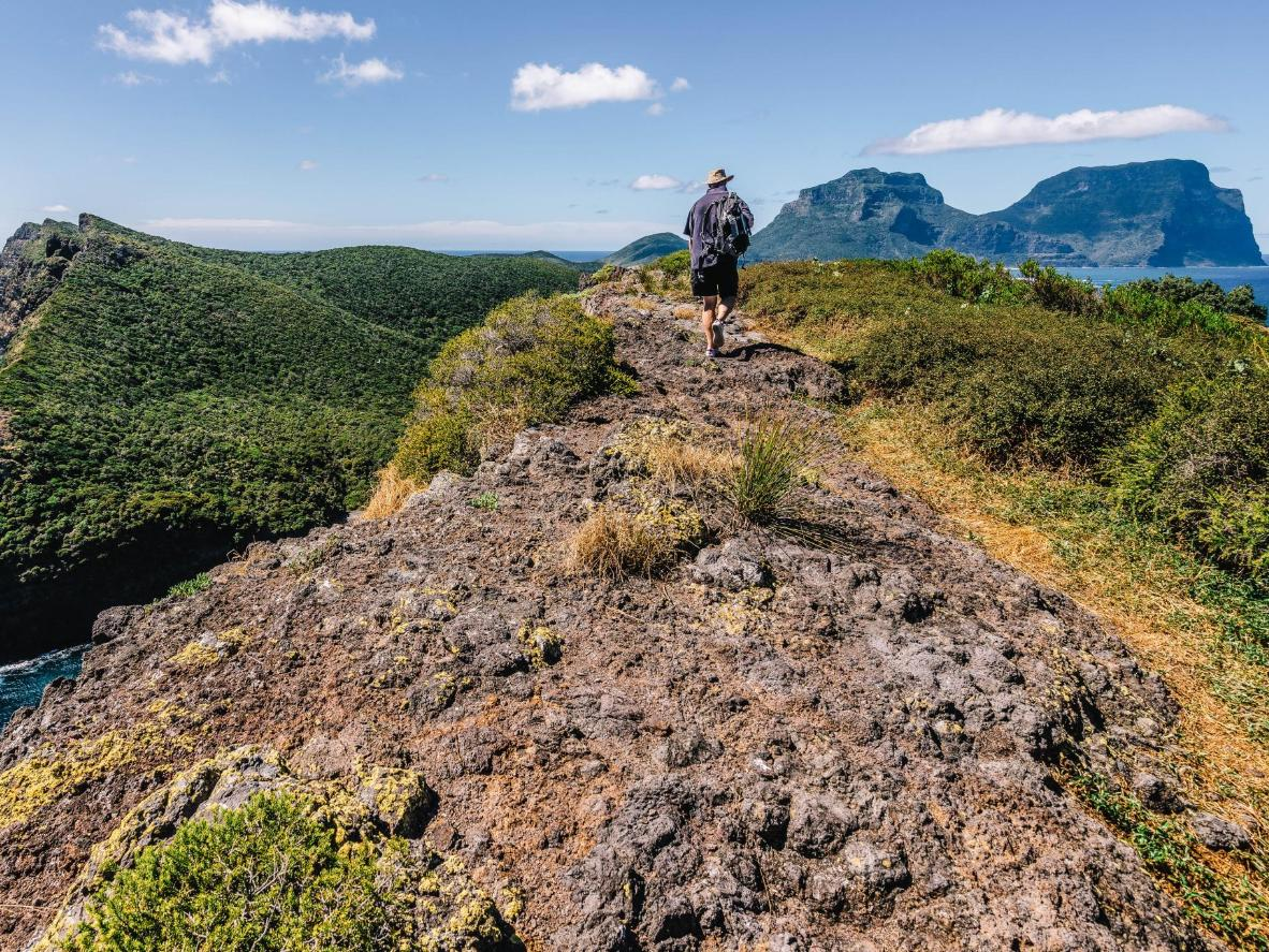 Spend New Year's Day hiking the volcanic ridges of Lord Howe Island