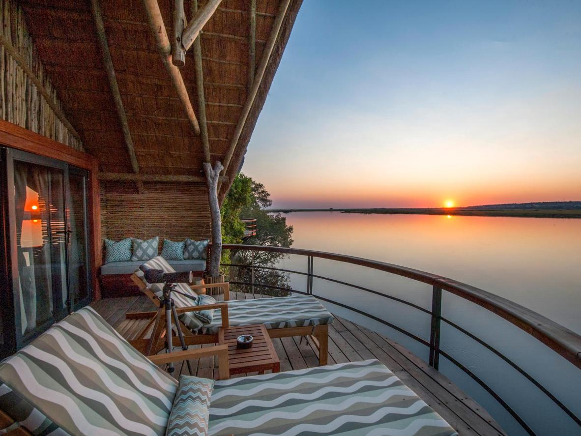 Each villa has a private sundeck built above the water on the banks of the Chobe River