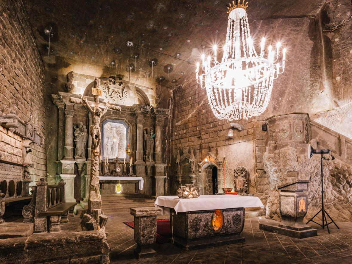 Rock salt chandeliers in the 13th-century Wieliczka Salt Mine