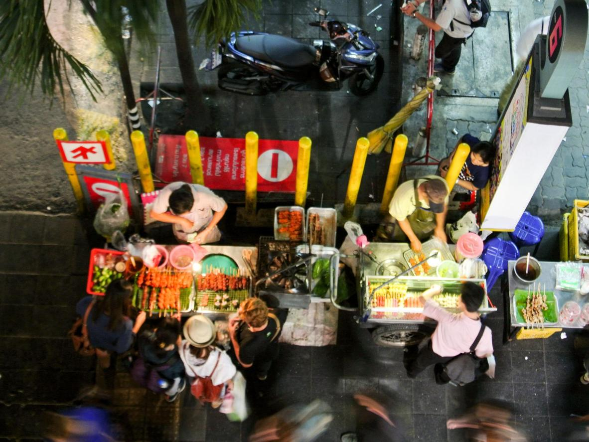 Food stalls at a Bangkok night market