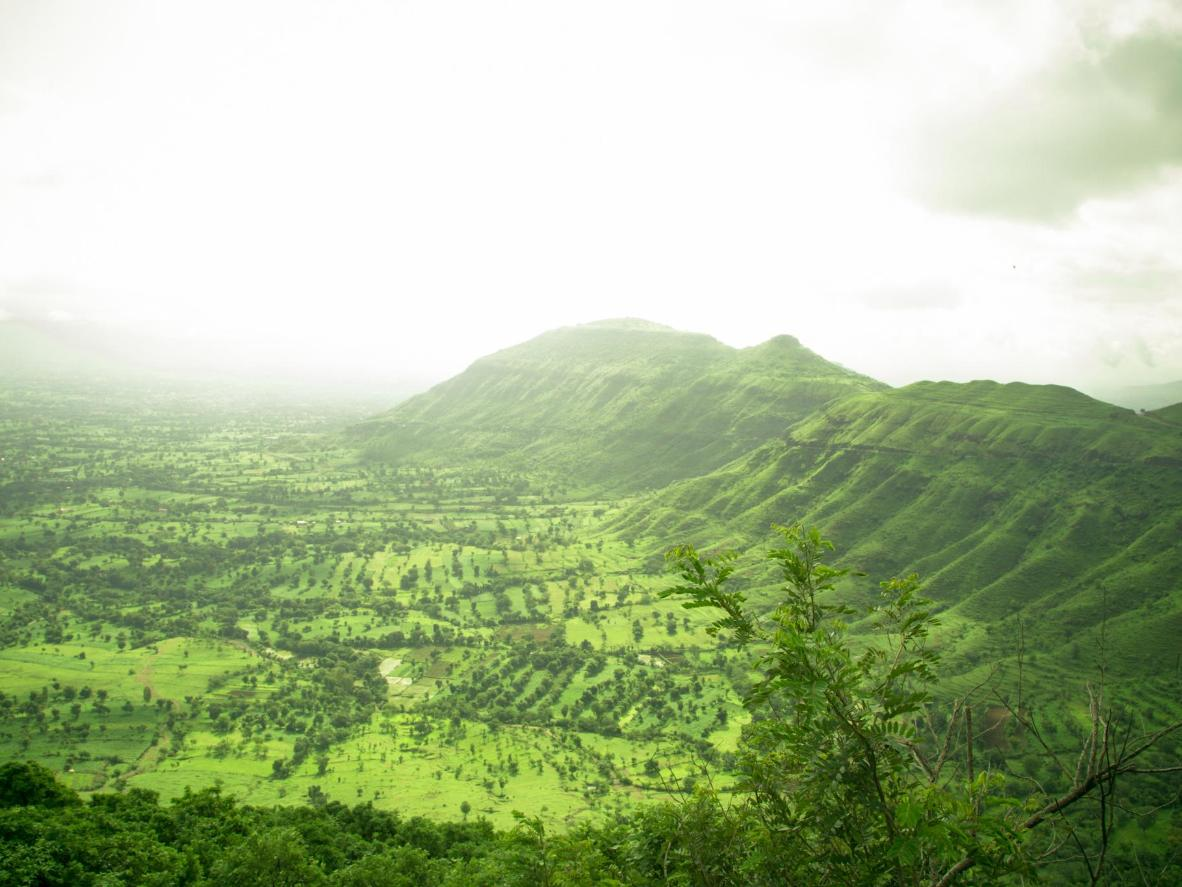 The glowing emerald green landscape around the hill station of Panchgani