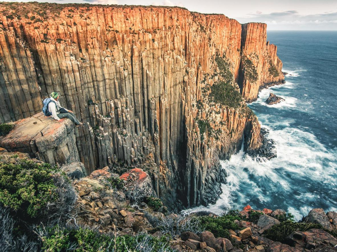 Take in Tasmania's wild, untouched coastline driving from Hobart to the Bay of Fires