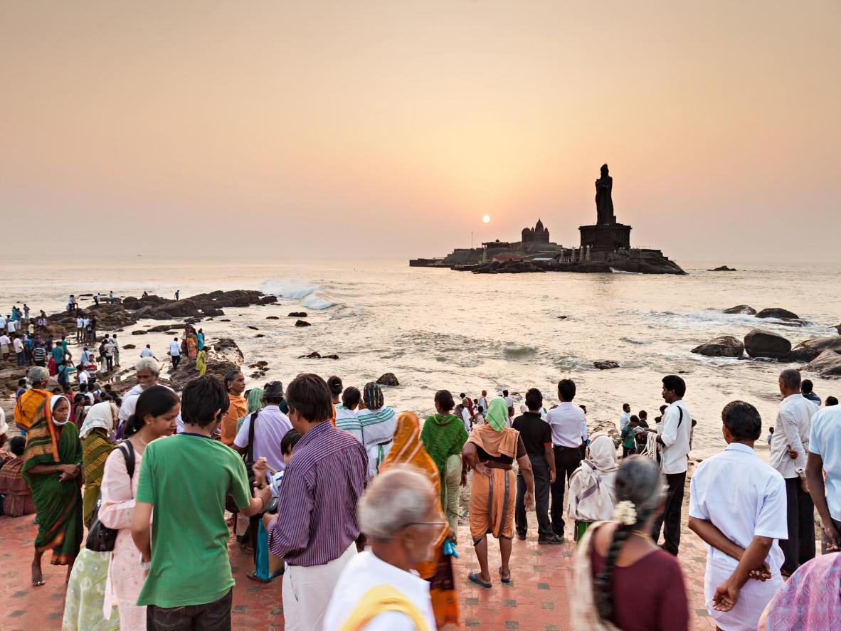 Pilgrims gather near Vivekananda Rock Memorial and Thiruvalluvar Statue