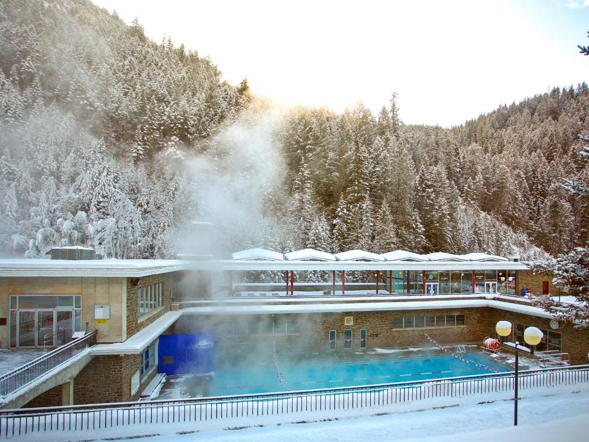 Radium Hot Spring is at its most picturesque during the winter
