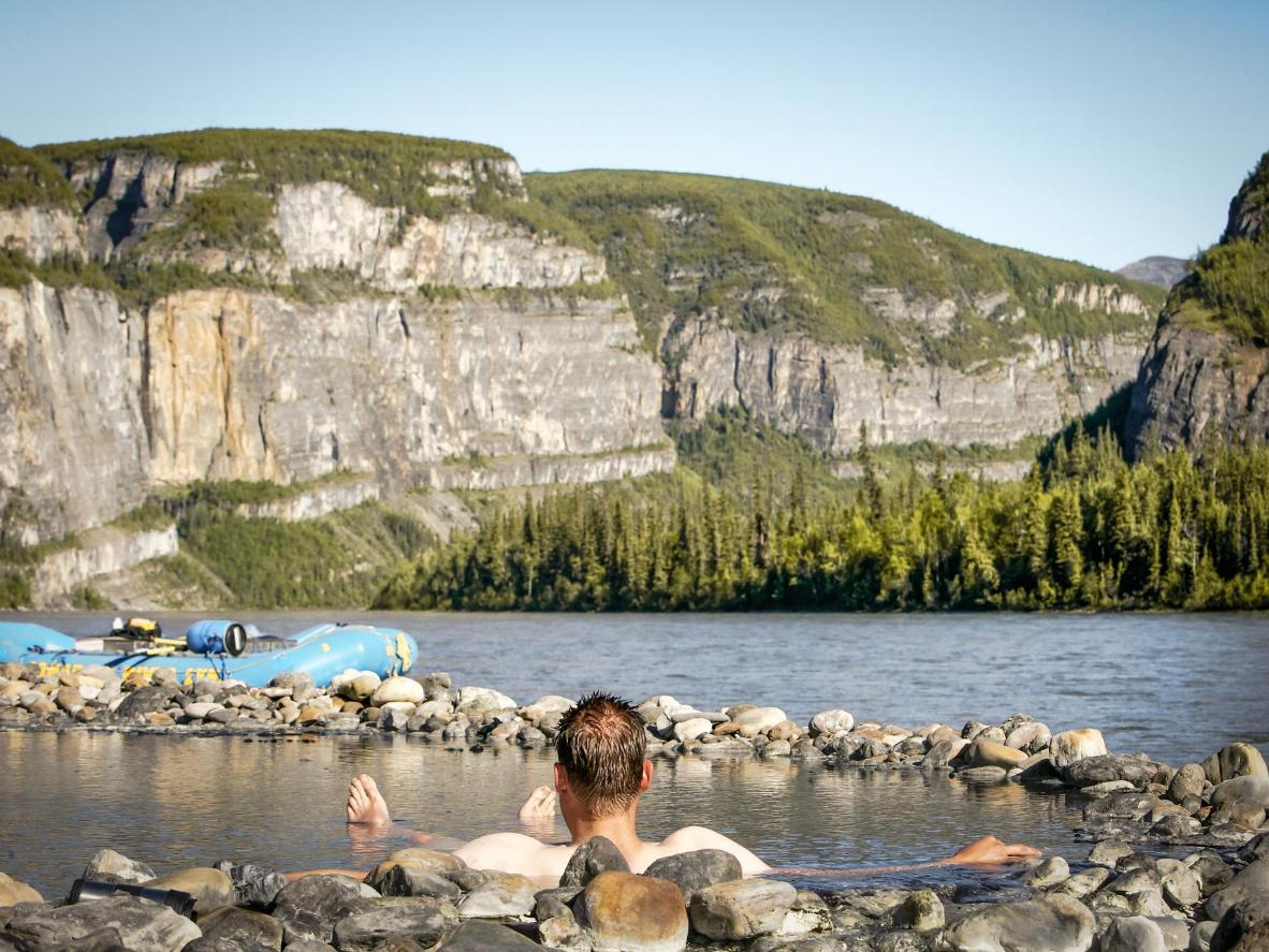 Soak up the warm water and the rugged views
