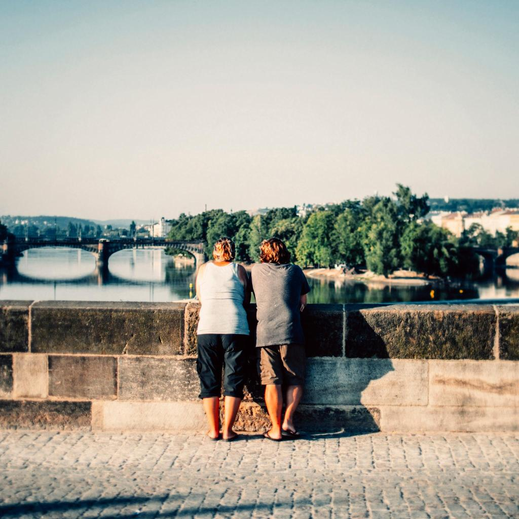 Looking over the Vltava River's many bridges