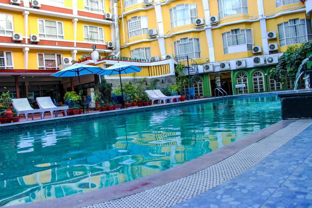The swimming pool at or near Hotel Woodland Kathmandu