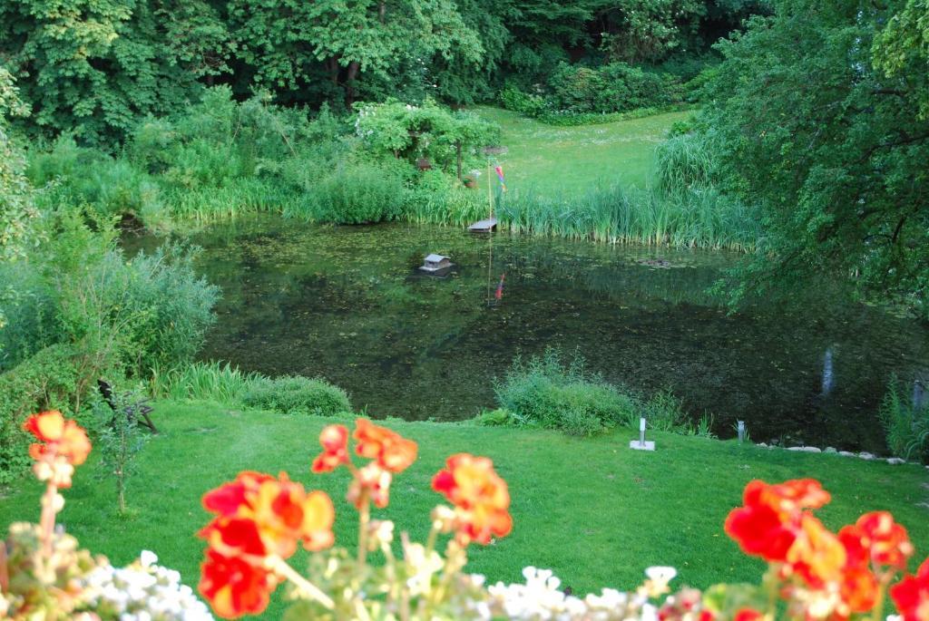 A garden outside Ferienwohnung Grünes Herz