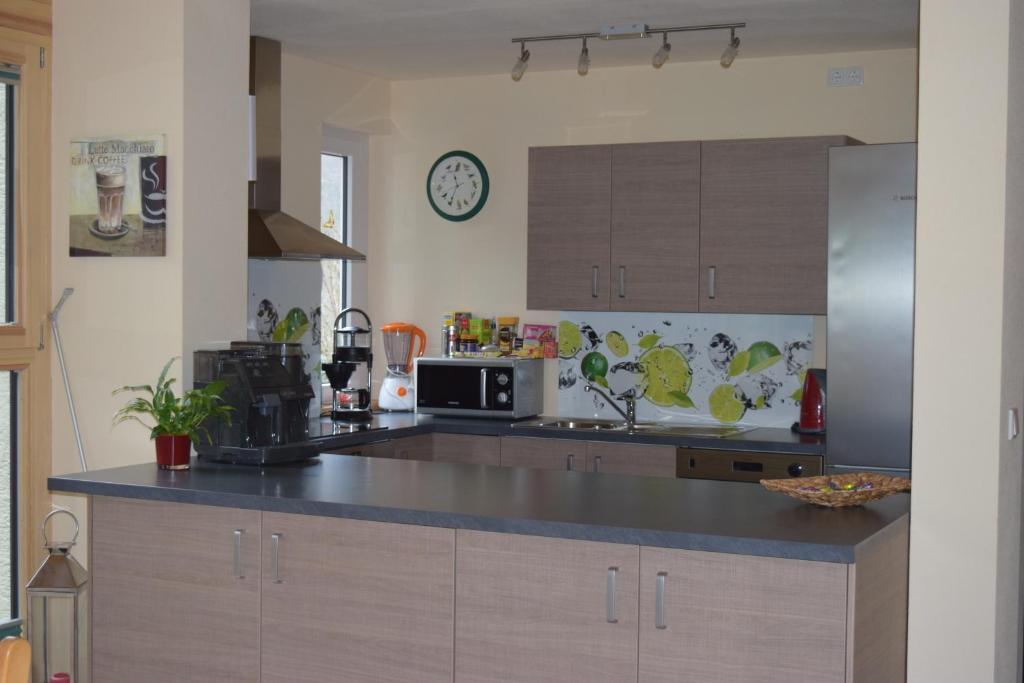 A kitchen or kitchenette at Nichtraucherferienwohnung-Neckarblick