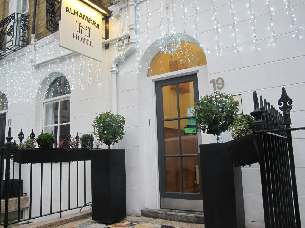 The facade or entrance of Alhambra Hotel