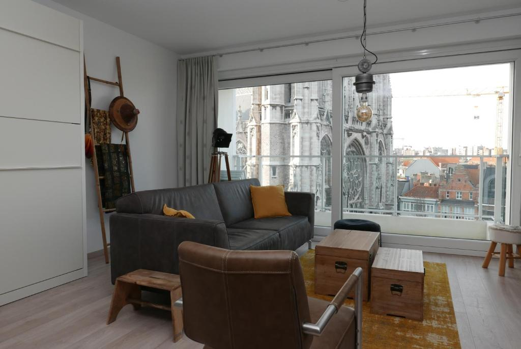 A seating area at Appartement aan Zee