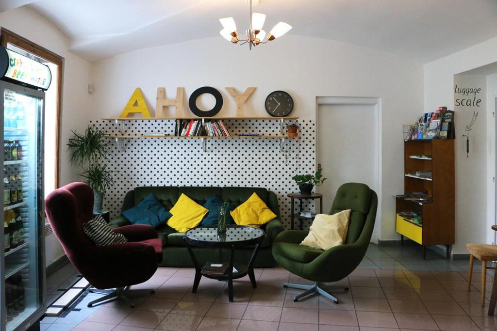 Ein Sitzbereich in der Unterkunft Hostel Boudnik