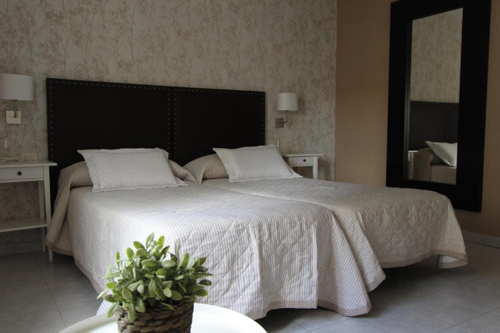 A bed or beds in a room at Apartamentos Arzúa