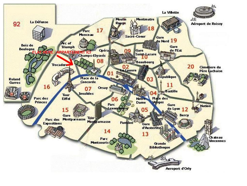 Karte Paris Arrondissement.Apartment Arc De Triomphe Paris France Booking Com