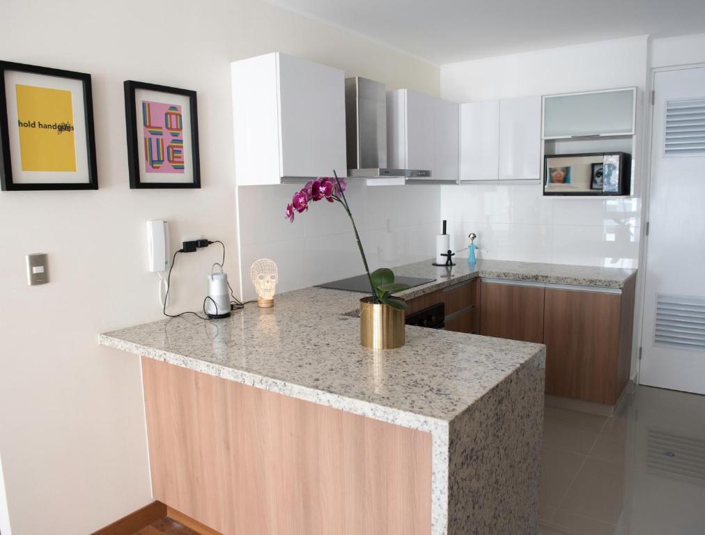A kitchen or kitchenette at Eduardo Designer Apartments Miraflores