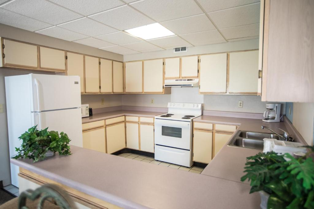 A kitchen or kitchenette at Tropical Seas Hotel