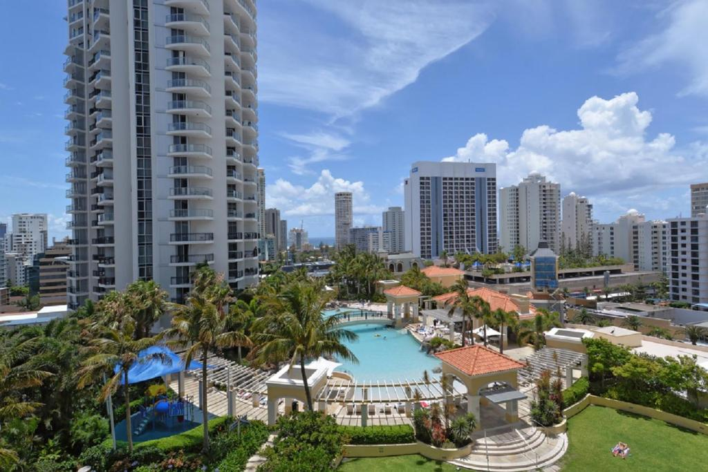 A view of the pool at 2 Bedroom Surfers Paradise or nearby