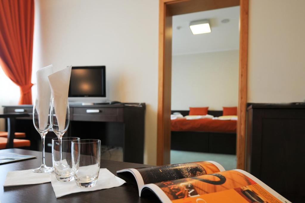 Televizorius ir (arba) pramogų centras apgyvendinimo įstaigoje Hotel SOREA REGIA