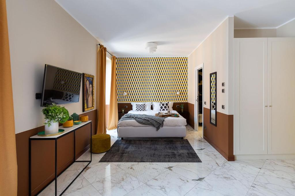 A bed or beds in a room at zebra naviglio