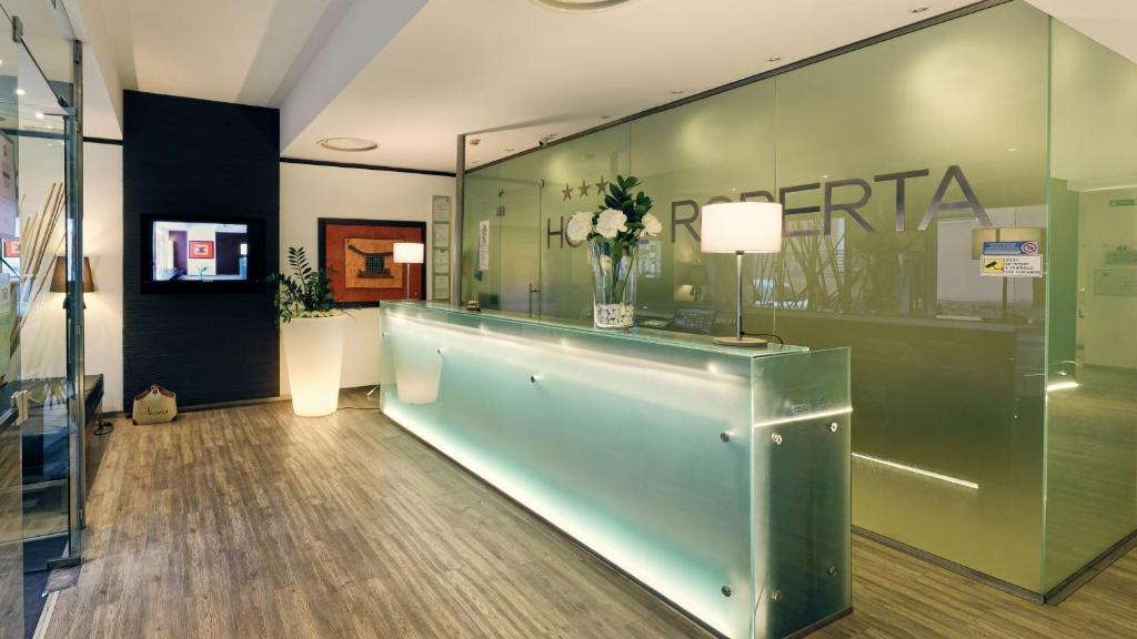 The lobby or reception area at Hotel Roberta