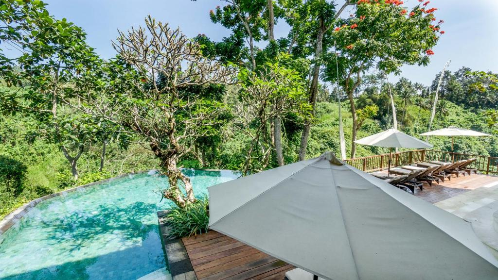 A view of the pool at Natura Villa Ubud Bali or nearby
