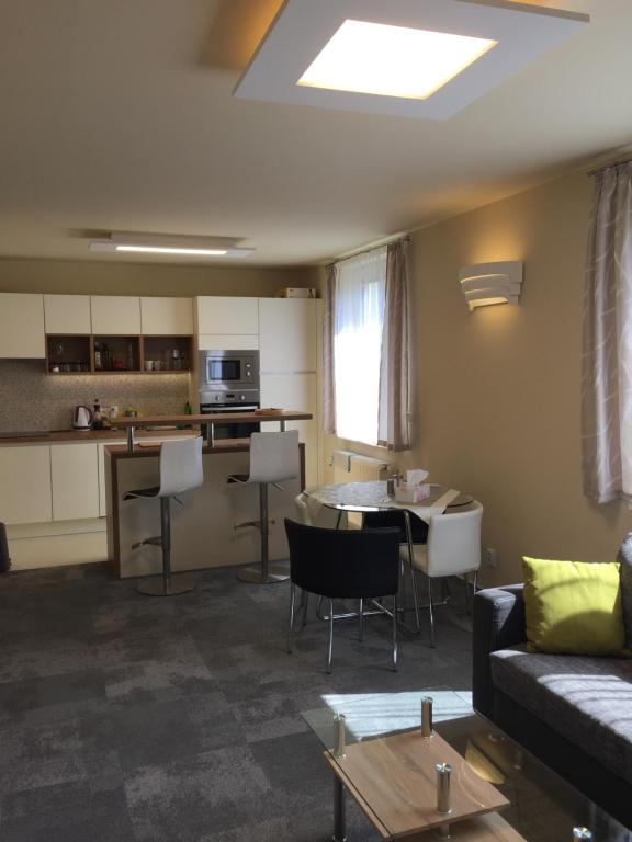 Kuchyň nebo kuchyňský kout v ubytování Luxusni apartman Velka Upa