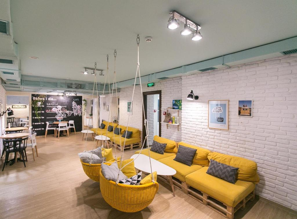 A seating area at DREAM Hostel Lviv