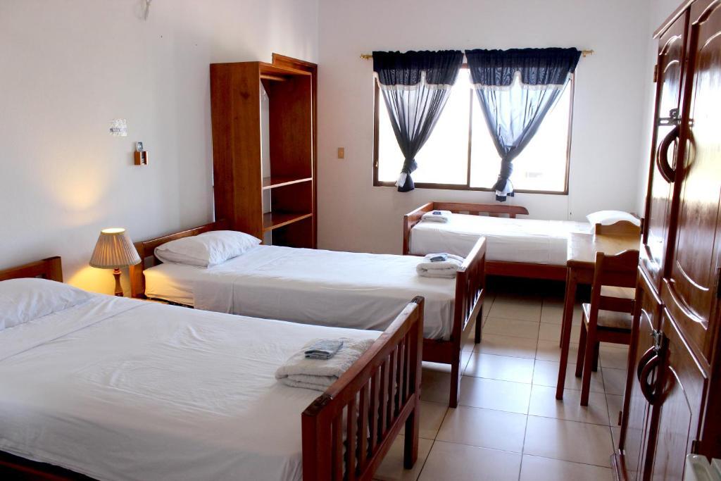 Een bed of bedden in een kamer bij Galapagos Best Hostel
