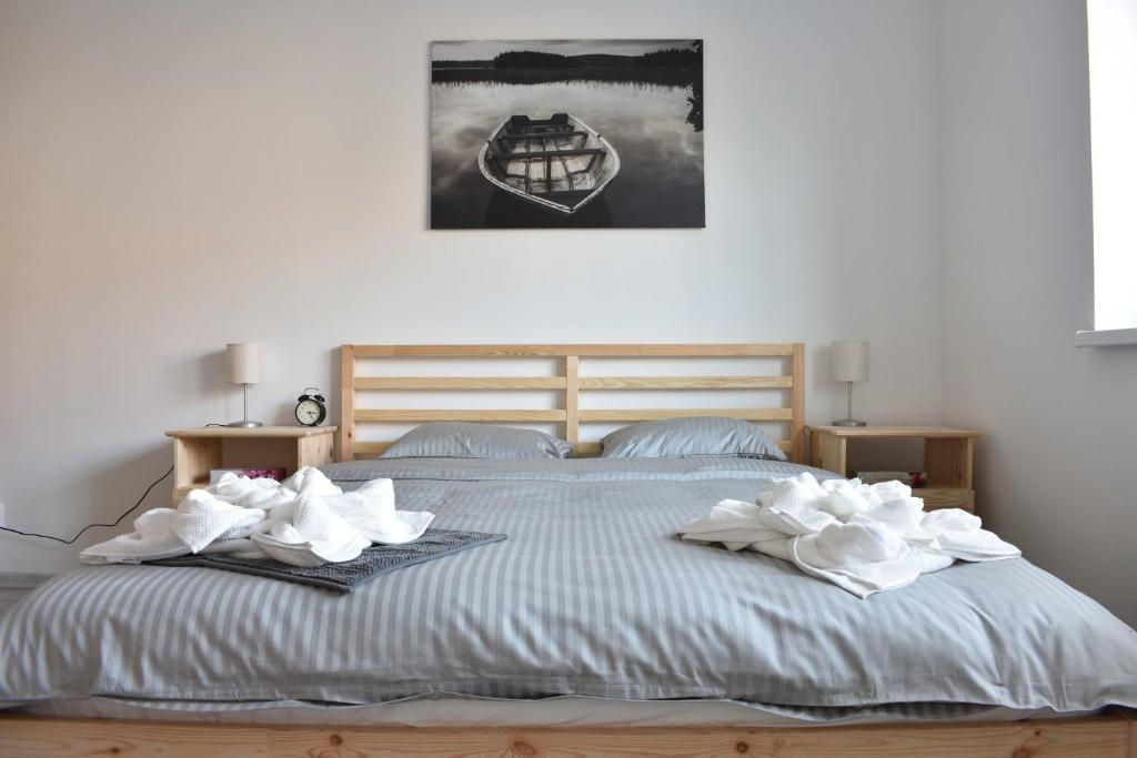 A bed or beds in a room at Apartmany U Letiste