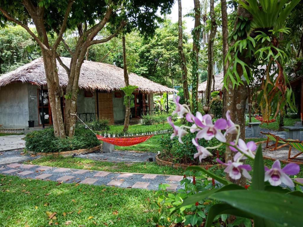 A garden outside Blanco Hostel at Lanta