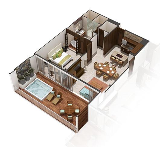 The floor plan of Apartment in Grand Luxxe Resort