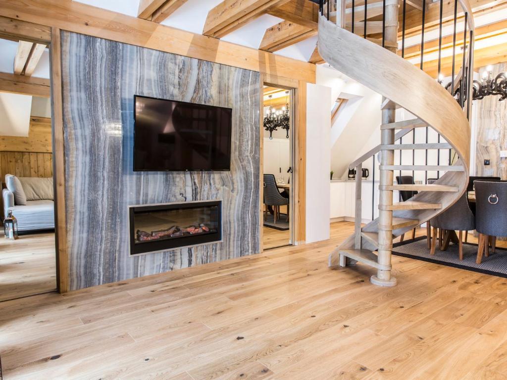 TV a/nebo společenská místnost v ubytování Mont Blanc Deluxe