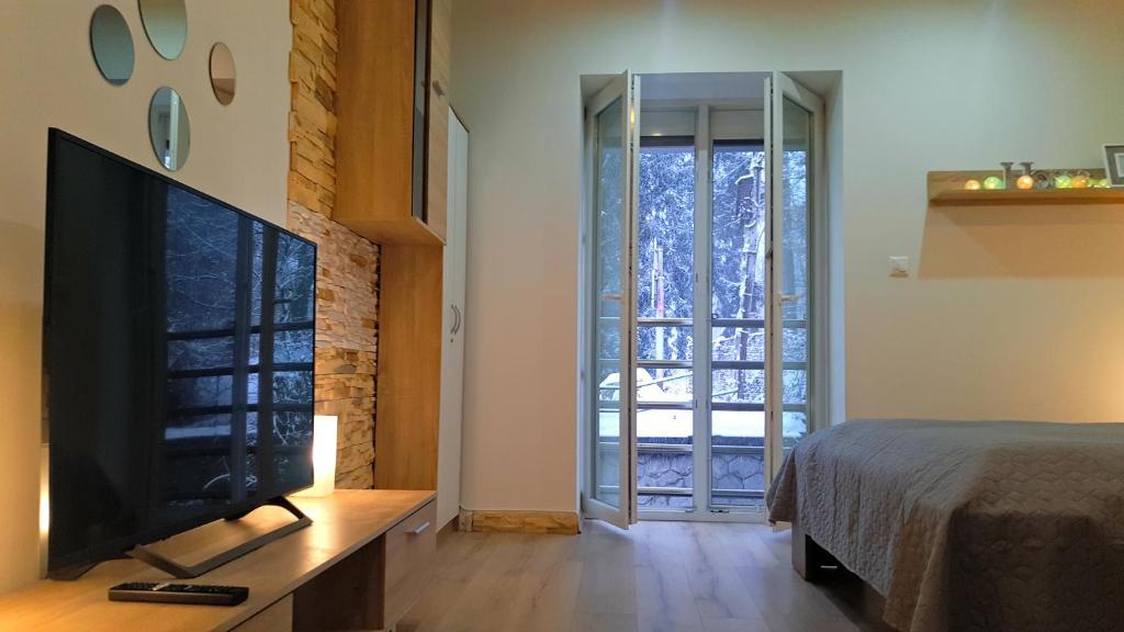 Postel nebo postele na pokoji v ubytování Apartmány Vansovej nad Hronom Banská Bystrica
