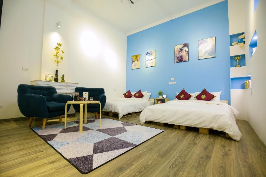 Cama ou camas em um quarto em Sapiens Hanoi Old Quarter