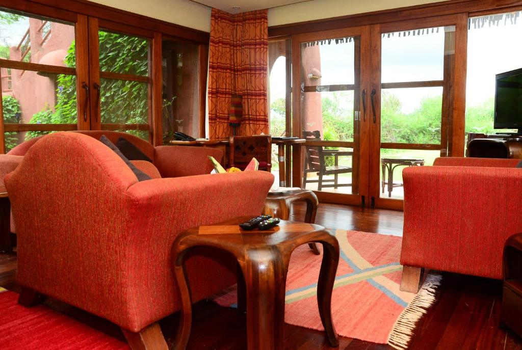 A seating area at Amboseli Serena Safari Lodge