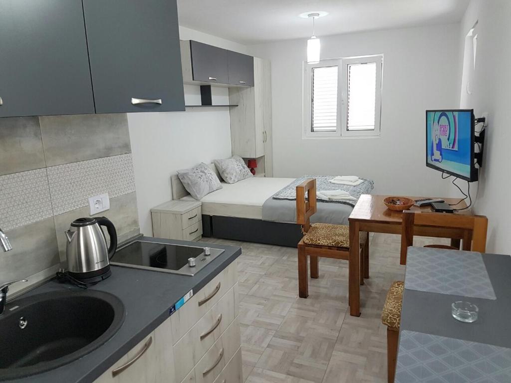 A kitchen or kitchenette at Njeguši Apartman 1