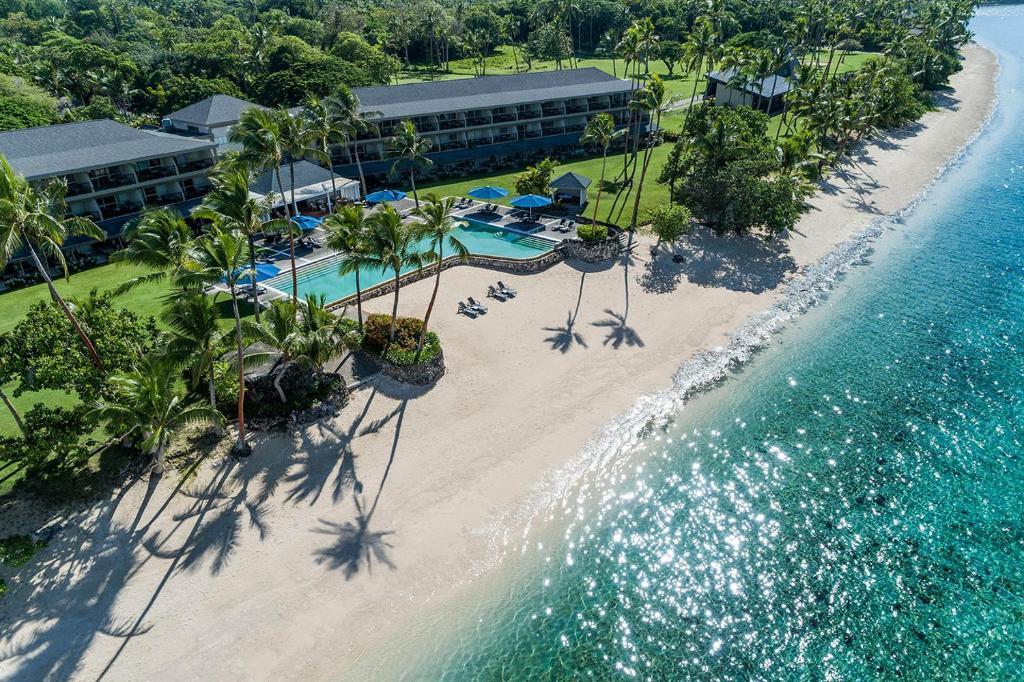 Een luchtfoto van Shangri-La's Fijian Resort & Spa