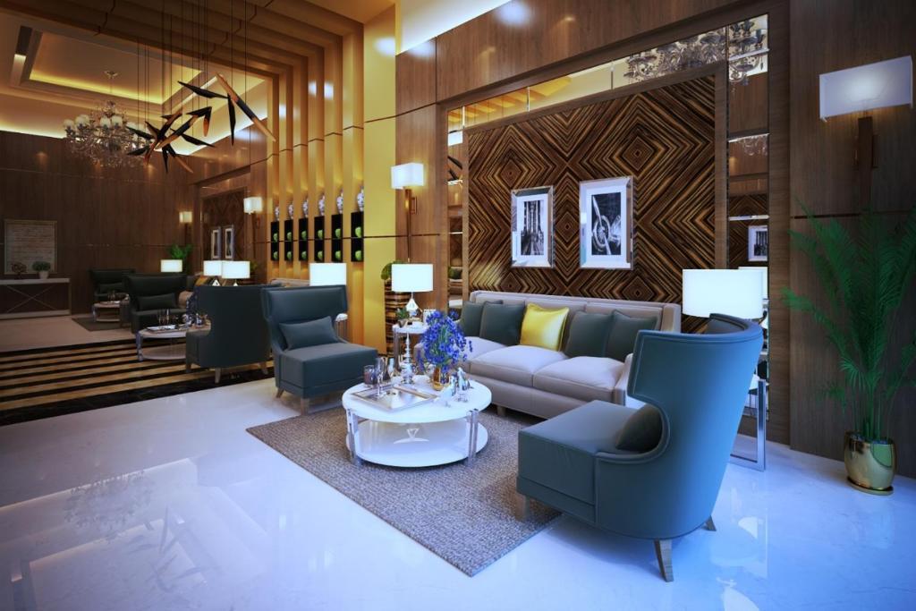 The lobby or reception area at Lavona Tiba Hotel
