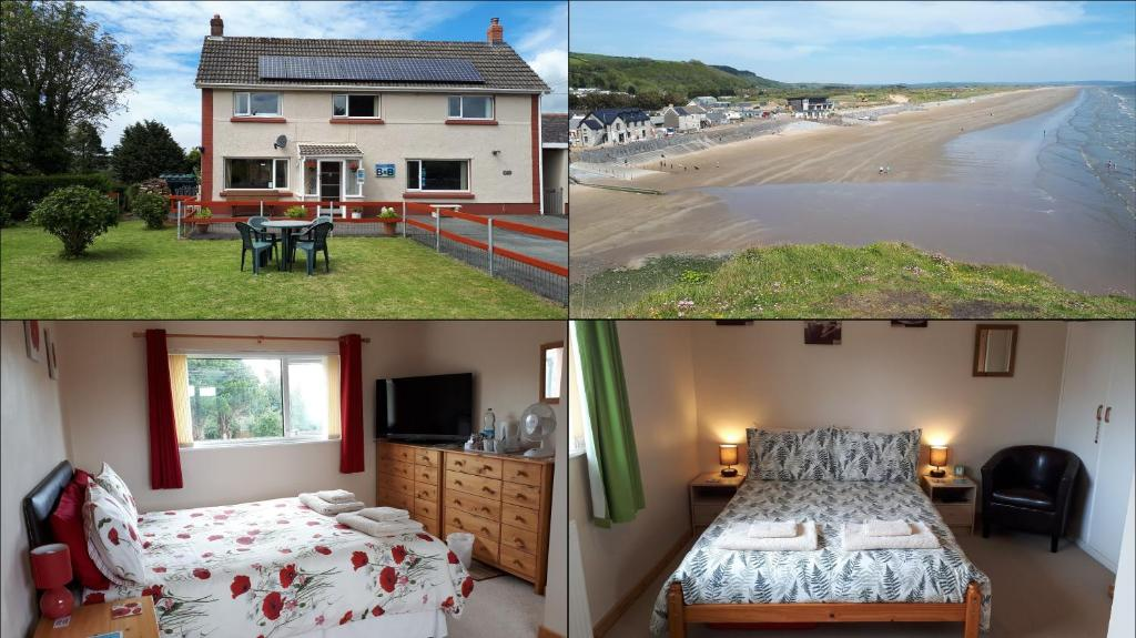 A bed or beds in a room at Pendine Sands Bed & Breakfast