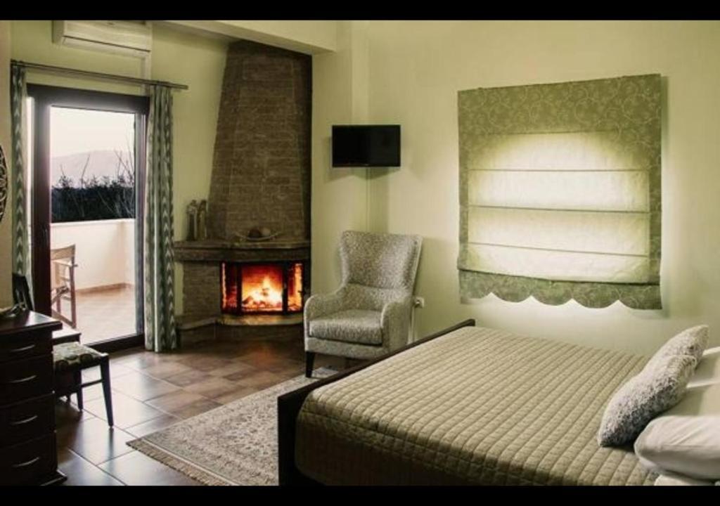 En eller flere senger på et rom på Gaia Kaimaktsalan