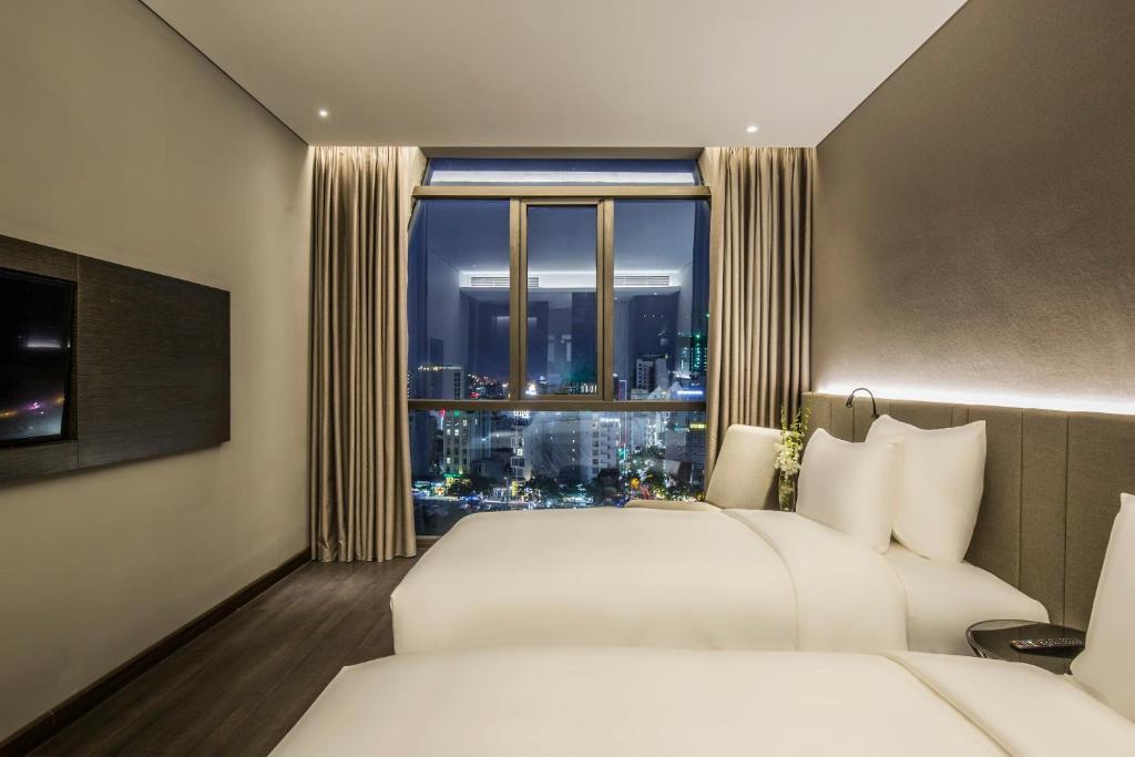Phòng Deluxe 2 Giường Đơn Nhìn ra Một góc Biển