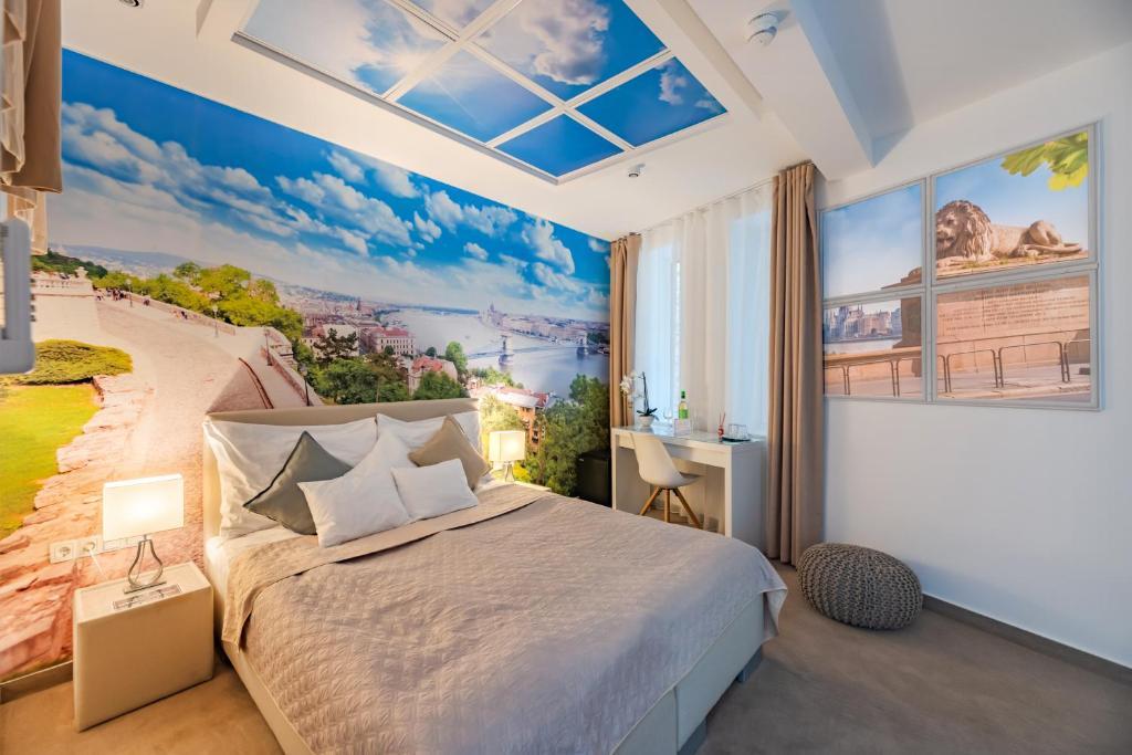 Cama o camas de una habitación en Bp Design Hotel and Apartman