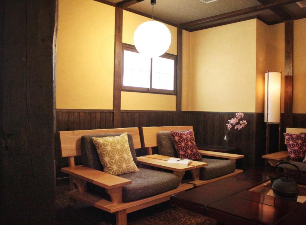 A seating area at K's House Takayama [1st K's Hostel]